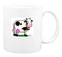 Mug with cow, holstein, standing, spots, bell