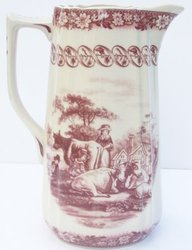 Red French Toile Pitcher Farm Cow Scene