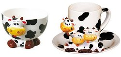 ZooBuds Hand Painted Ice Cream or Cereal Bowl - Cow Design