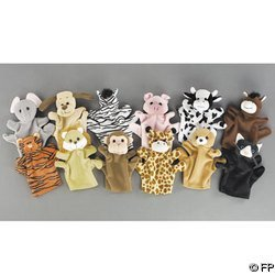 12 Velour Animal Hand Puppets Monkey Cow Pig Etc