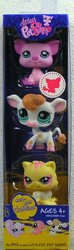 Littlest Pet Shop Cuddliest 3-Pack (Pink Piggy, Baby Cow, Yellow Kitten)