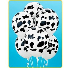 Party Supplies - Cow Print Balloons (6)